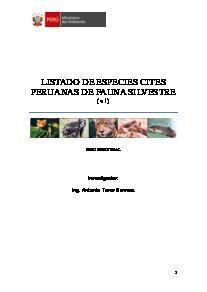 Listado de especies CITES peruanas de fauna silvestre | SINIA | Sistema Nacional de Información Ambiental
