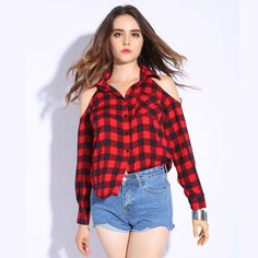 Cold Shoulder Women Shirts Spring Style Shirt Long Sleeve Ladies Tops Plaid Red Blouse Women Lapel Fashion Blouses
