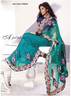 Elegant Teal Blue Embroidered Saree @ £ 85.50