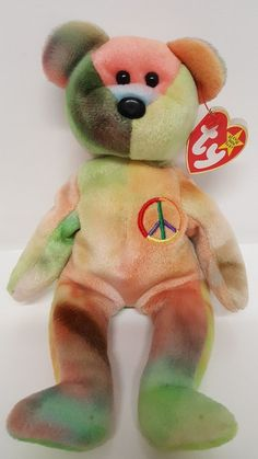 Peace Bear Ty Beanie Babies Retired Unique Color February 1 1996 Tye Die  Hippies  Ty d6827fb88ba8