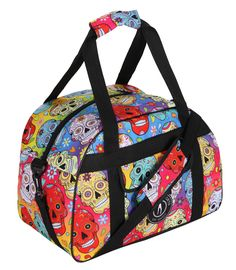 Designed to store all your kit and more, the Rainbow Mexican Skulls gym bag is spacious, sturdy and bold. In a fun sugar skull print, the colours are simply stunning!  Featuring a generous internal pocket and external pouch pocket, you can fill this bag with your trainers, water bottle, towel and clothes. It's not limited to the gym either - use as funky hand luggage, a Tiki-weekender or roomy work bag. Halloween Skull, Vintage Halloween, Halloween Makeup, Halloween Costumes, Sugar Skull Makeup, Sugar Skull Art, Rainbow Outfit, Rainbow Clothes, Candy Skulls