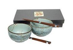 Japanese Spring Blossom Bowl And Chopsticks Set includes 2 Bowls and 2 Sets of Chopsticks,$24.75