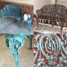 Wrought iron garden bench and table. Chalk Paint custom mix. Dry brushing!!