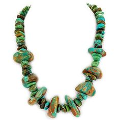 """002 Ny6Design Green Turquoise Large Nugget Necklace w Silver Plated Toggle 20.5"""" N15091713. *Beautiful necklace made from Natural Turquoise 5mmx13mm & 20mmx30mm Nuggets. *Silver Plated Toggle *Gorgeous cool colors!!. *Necklace Length: 20.5"""" (26mm=1inch). *Notice: All natural gemstones are unique and may vary from the one shown in the picture. *Includes: FREE gift box with each order; ready to gift! 30-DAY satisfaction guarantee, no questions asked if you are not completely satisfied with…"""