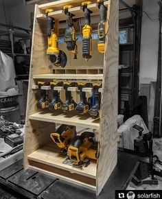 A garage workbench is an important tool in any home workshop. A workbench will permit you to complete tasks quickly and with higher precision. Power Tool Storage, Garage Tool Storage, Garage Storage Cabinets, Garage Tools, Diy Storage, Storage Ideas, Storage Systems, Power Tools, Garage Workshop Organization