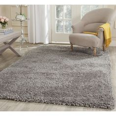 Safavieh Handmade Popcorn Shag Silver Polyester Rug (6' x 9') | Overstock.com Shopping - Great Deals on Safavieh 5x8 - 6x9 Rugs