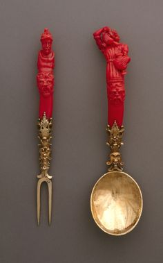 *THIS FORK IS CORAL, SILVER: and gilding.from Germany,ca 1600.