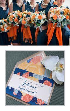 Navy & Orange Bridesmaid card