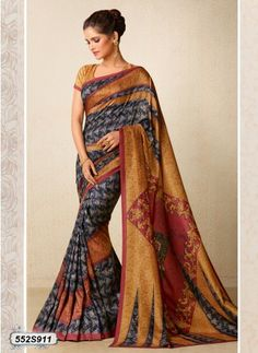 Classic Multi Colored Tussar Silk Digital Printed Party wear saree