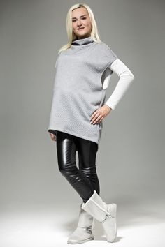 Plain Grey Lose Maternity Waistcoat