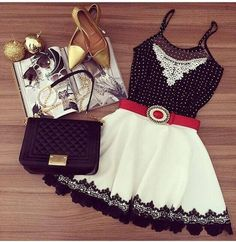 Black-White Patchwork Lace Polka Dot Chiffon Dress, $31.27.  CiChico.  Personally I would bag the gold shoes.  Maybe red.
