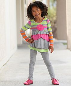 Another great find on #zulily! Pink & Green Lollipop Stripe Tunic & Leggings - Girls #zulilyfinds