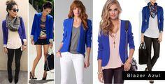 Blazer Azul Cardigan Azul, Royal Blue Cardigan, Royal Blue Blazers, Royal Blue Outfits, Blazer Outfits For Women, Cardigan Outfits, Look Blazer, Casual Blazer, Simple Outfits