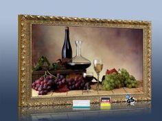 Bildheizung 600 Watt Stilrahmen gold Wein-Trauben