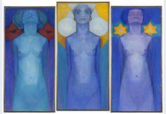 Evolutie - 1911 middenpaneel: 183 x 87,5 cm beide zijpanelen: 178 x 85 cm olieverf op doek, drieluik