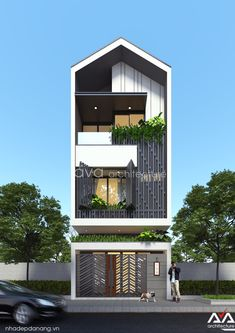 Ideas For Design House Front Modern Architecture Modern Townhouse, Townhouse Designs, Duplex House Design, House Front Design, Home Building Design, Building A House, Facade Design, Exterior Design, House Construction Plan