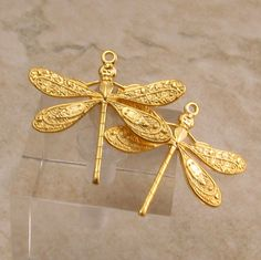 Ornate Dragonfly Charm Matte Gold 2 Pc. AG237 by FabBeads on Etsy