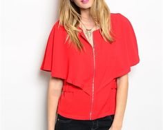 CRIMSON CAPELET BLOUSE | Embelle Boutique