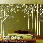 Cherry blossom wall decals violet nursery white flowers vinyl wall decal tree birds wall sticker kids decals nursery- by cuma