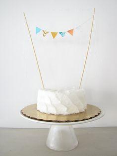 Peach & Aqua Mini Flags Cupcake or Smash Cake Topper - Tiny Fabric Cake Bunting - Birthday, Shower, Party Decor chevron tribal geometric