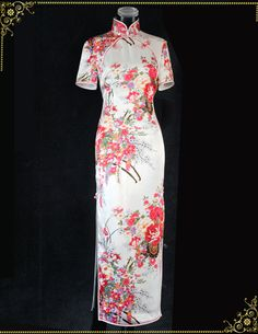 White floral silk satin cheongsam dress SCS91 - Custom-made Cheongsam,Chinese clothes, Qipao, Chinese Dresses, chinese clothing,EFU Tailor Shop