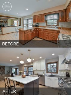 White Cabinets Oak Trim For The Home Pinterest Oak Cabinets White Cabinets And Kitchen