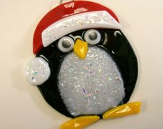 Fused Glass Christmas Ornament (Penguin)