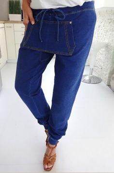 Riflové nohavice pudlového strihu z dvojitým vreckom prednej časti, možnosť…