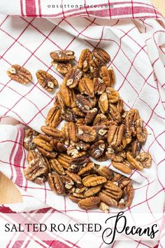 Easy and delicious salted oven roasted pecans recipe. These roasted pecans are the perfect appetizer for parties or gatherings. Ready in under 30 minutes! #appetizer #snack #pecans