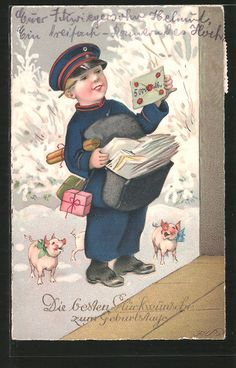 carte postale ancienne: CPA Illustrateur Fritz Baumgarten: Glückwünsche zum Geburtstage, kleiner Briefträger, Postbote