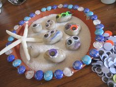 Create a place for the sea shell creatures to live. Shallow dish, paint bottom sand color and decorate the edge with stones or paint half blue like the ocean waves coming in.
