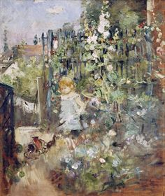 Berthe Morisot's family Supermodel Julie Julie Manet was born on 14 November, It didn't take long before she became her mothers favorite model. Julie also sat for Manet, Degas and. Pierre Auguste Renoir, Edouard Manet, Julie Manet, French Impressionist Painters, Berthe Morisot, Mary Cassatt, Garden Painting, Claude Monet, Hollyhock