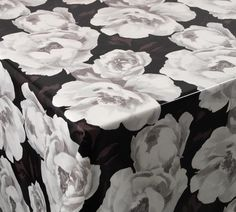 'Solarised Flowers' Cotton Print PVC Tablecloth