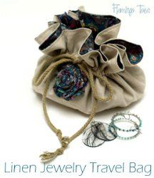 Linen Travel Jewelry Bag. Keep your jewelry safe and in one place when you travel. Learn how to make a drawstring bag that can hold your rings, necklaces, and bracelets in one compact bundle. Make this Linen Travel Jewelry Bag to match your luggage or use fabric that's a little more special. #sewing