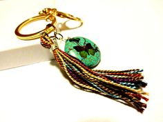 Tassel Keychain Turquoise and Purple Tassel Car by YoursTrulli