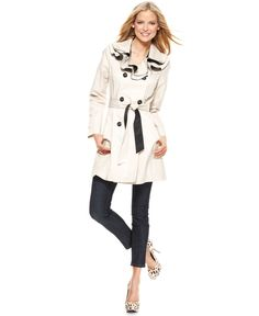Betsey Johnson Coat, V Neck Ruffled Collar Double Breasted Buttoned Tie Pocket Contrast Trim Lightweight Trench