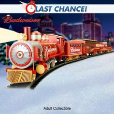 Train: Budweiser Holiday Express Train Collection -  	     	              	View Sale Price   A sure sign that Christmas is on its merry way is when you see ads featuring the famous Budweiser® Clydesdales trotting through a winter wonderland! Now, set the holidays in motion with the Budweiser Holiday Express Train Collection, exclusively from...