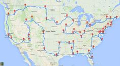 """The optimal road trip across the U.S."" - Imgur"