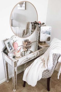 Mirror Modern Makeup Vanity Table Design With Patterned Chair #mirrortable ★ A makeup vanity table is not just a piece of furniture; it's the nook of worshipping your beauty! Therefore, it should be designed not only comfily but also stylishly. Here, we've collected the most trending ideas to organize your makeup desks, shelves, and drawers in a modern and practical way.  ★ #makeupvanitytable #vanitytable #makeuptable #homedecor #makeuporganization #glaminati #makeup