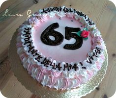 65th birthday cake with chocolate numbers ...