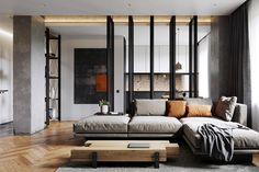 Modern férfias 65m2-es lakás markáns stílusjegyekkel természetes anyagok fém beton kombinációjával egyedi fém térelválasztóval