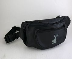 c5dcc4be3dca Vintage Black Leather Deer Fanny Pack // Black Waist Purse with Adjustable  Strap and 3 Pockets