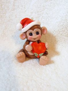 monkey Christmas ornament cake topper animal shower by clayqts, $18.95
