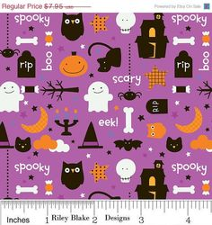 ON SALE 1/2 yard Riley Blake Trick or Treat by TheSewSweetShoppe, $3.38