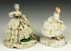 Lot of two early 20th century, Capodimonte lady figurines, porcelain and lace,