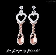 Lovespoons Welsh Rose Gold Detail Sterling Silver Earrings by J7339 - $295.00