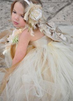 Champagne Satin Princess Flower Girl Tutu Dress