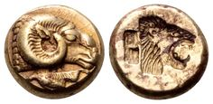 EL Hekte. Greek, Lesbos, Mytilene. Circa 521-478 BC. 10mm, 2,58g, 10h. Bodenstedt 16. Near EF. Price realized (2.7.2016): 1.192 EUR. Electrum, Coin Art, Antique Coins, Coin Collecting, Artemis, Gold Coins, Ancient Greek, Medieval, Buttons