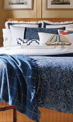 The nautical blues and swirls of paisley in our Montauk Bedding suggest the waves of the ocean.