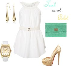 """Teal and gold"" by kandiwell on Polyvore"